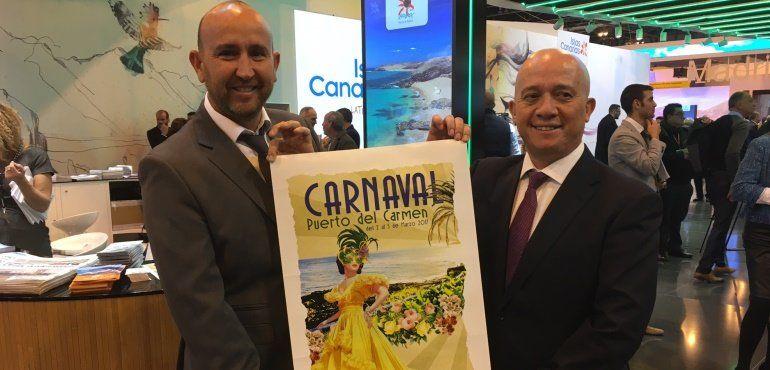 Presentando el cartel del Carnaval de Puerto del Carmen en Fitur