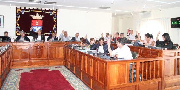 Imagen de los concejales votando una de las mociones del pleno de Arrecife. (Foto: Sergio Betancort).