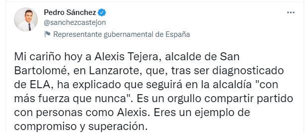 """Pedro Sánchez envía un mensaje de apoyo a Alexis Tejera: """"Eres un ejemplo de compromiso y superación"""""""